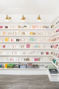 Sugar Paper is a high-end letterpress stationery company known for its tasteful design aesthetic and exceptional attention to detail. Stationary Shop, Stationery Store, Bookstore Design, Party Supply Store, Retail Store Design, Retail Stores, Store Displays, Retail Displays, Merchandising Displays