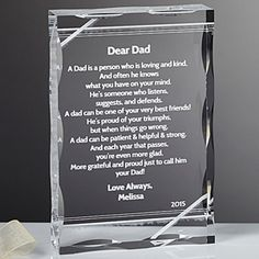 Create lasting Wedding memories with the Dear Dad Poem Personalized Keepsake. Find the best personalized wedding gifts at PersonalizationMall.com