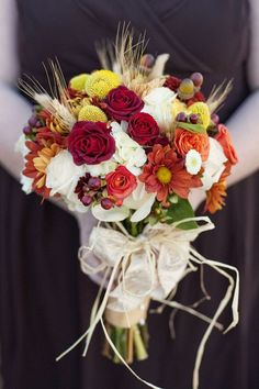 red fall bouquets | Red & orange fall bouquet | Fall Bouquets