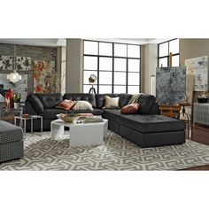 Living Room Furniture - Aventura 5 Pc. Sectional · Value City FurnitureLeather SectionalsLiving Room FurnitureLiving RoomsModern ...  sc 1 st  Pinterest : value city leather sectionals - Sectionals, Sofas & Couches