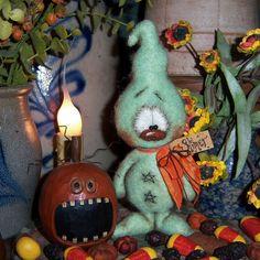"Primitive Halloween Ghost Bear 6"" Doll Vtg Patti's Ratties Monster Goblin Ornie"