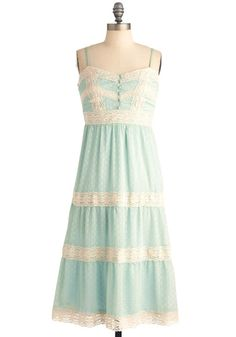 Lacy in the Sky Dress - Tan / Cream, Lace, Empire, Spaghetti Straps, Boho, Pastel, Sheer, Mint, Long, Spring, Summer