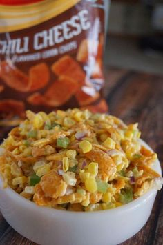 Corn Salad with Chili Cheese Fritos Corn Salad Recipes, Corn Salads, Potluck Recipes, Vegetable Recipes, Appetizer Recipes, Mexican Food Recipes, Cooking Recipes, Cold Corn Salad, Potluck Appetizers