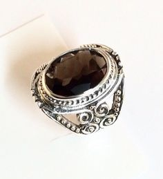 Sterling Silver Oval Faceted Smoky Quartz Ring Size 7&1/4 R093002 #Bohemian