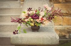 Ever Ours Events Fall Styled Shoot Whitney Paige Photography Floral Arrangement Centerpiece Cafe Au Lait Dahlia Burgundy Peony Rustic Vintage ever ours events Fig