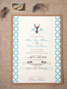 Antler + Deer Wedding Invitations via @HoneyBeeInvites