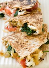 Goat Cheese, Caramelized Onion and Spinach Quesadilla | Fitness Magazine. I LOVE caramelized onion, such a sweet zing!