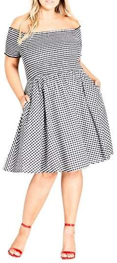 53687882db8 New City Chic Gingham Off the Shoulder Fit amp  Flare Dress (Plus Size)  online.
