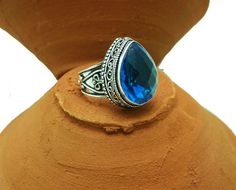 Engagement Rings – Vintage Swiss Topaz Gemstone Oxidized Silver Ring  – a unique product by IndianCraftPalace on DaWanda