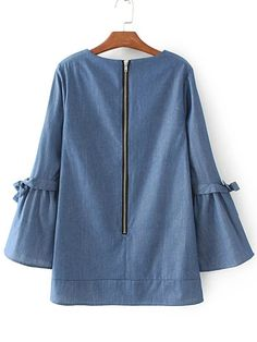 Blue V Neck Tie Detail Zipper Back Denim Blouse