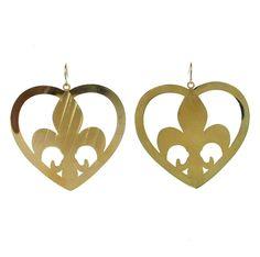 Fleur De Lis shape centered in a heart Large earrings, light weight metal french…