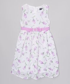 Another great find on #zulily! Lilac & White Tulip Dress - Girls #zulilyfinds