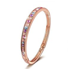Brilla Rose Gold Plated Bangle Bracelet Women Fashion Jewelry With Swarovski Crystals,7""
