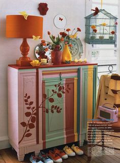 home decorating ideas home decor gallery colorful eclectic decor Hand Painted Furniture, Funky Furniture, Repurposed Furniture, Furniture Projects, Furniture Makeover, Antique Furniture, Striped Furniture, Painting Furniture, Painting Art