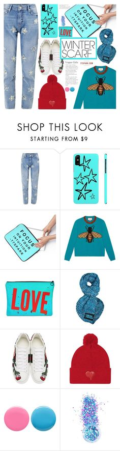"""""""Wrapper's Delight: Winter Scarf (3)"""" by samra-bv ❤ liked on Polyvore featuring Zoe Karssen, Gucci, Forever Collectibles, Deborah Lippmann and In Your Dreams"""