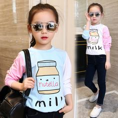 c8f35a669e6 Check it on our site little teenage girls t-shirt character girls tops blue  white