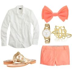 coral shorts, white button down, jack rogers, monogram bracelet, watch, hair bow