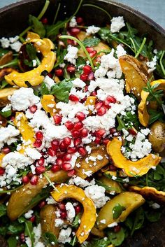 delicata squash & roasted potato salad with feta and pomegranate and champagne vinaigrette + 4 other healthy and delicious recipe ideas in this week's Fall meal plan | Rainbow Delicious