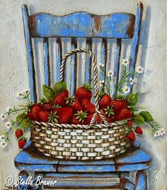 Stella Bruwer wicker basket of strawberries on shabby blue chair Art Floral, Art And Illustration, Stella Art, Country Art, Decoupage Paper, Cross Paintings, Kitchen Art, Vintage Flowers, Pictures To Paint