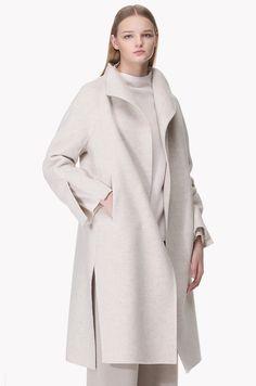 Slit cuffs lambs wool cashmere open coat