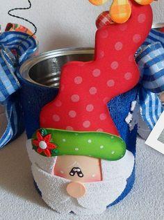 Papai noel na lata de nescau com moldes - Pra Gente Miúda
