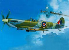 Spitfire MkIX del wing commander (tcol.) James Edgar (Johnnie) Johnson; como era privilegio en la RAF para los de su empleo, lleva sus iniciales JE-J en lugar del código de escuadrón. Al mando de la 144 wing (RCAF) de ahí la hoja de arce canadiense (pero él era británico) derribando un Bf109G en 1943. Más en www.elgrancapitan.org/foro/