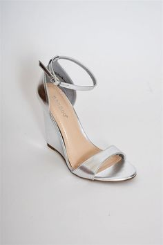 303d4fa0730 Silver wedge with a ankle and toe strap - bridesmaid shoe