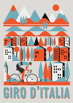#illustration #bicycle #colourful #illustrator #design #editorial #night #colour #ride #bicycles #city #character #mountains