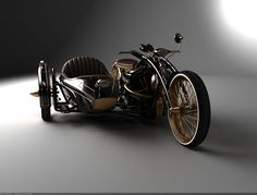 Stampunk Chopper and Side Car name Black Widow from Solifague Design in Russia