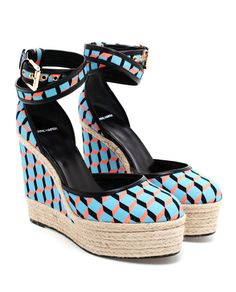 Pierre Hardy 'Cubic' Canvas and Jute Wedges