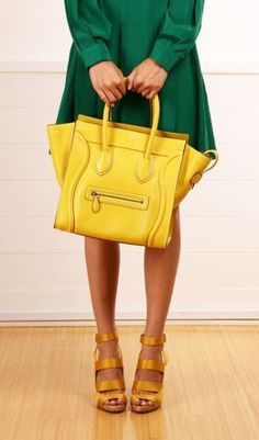 Fall/winter clothes don't have to be boring. A bright bag will lift your spirit all winter long! #fall #fashion #nyfw