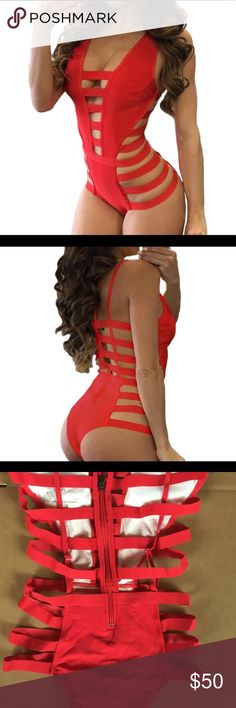 """Lady in Red"" Swimsuit/Bodysuit Super sexy guaranteed to turn heads! Will for M/L. Swim One Pieces"