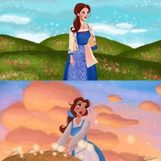 "Belle reprise Animation vs. Reality! The live action scene reminds me of the ""Hills are singing"" piece. Around two months to go!!"