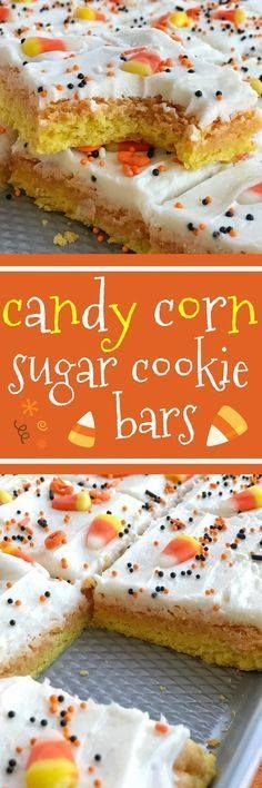 Candy corn sugar coo Candy corn sugar cookie bars are the best way to celebrate Halloween. Sugar cookie bars made in a sheet pan so there is plenty for everyone. Layered in yellow & orange sugar cookies and then topped with a white cream cheese icing and decorated with candy corn and Halloween sprinkles! This recipe is so addictive and will be the hit dessert of any party | togetherasfamily.com Together as Family Blog Recipe : ift.tt/1hGiZgA And My Pinteresting Life | Recipes, Desserts, DIY, Healthy snacks, Cooking tips, Clean eating, ,home dec  ift.tt/2v8iUYW  Candy corn sugar coo Candy corn sugar cookie bars are the best...