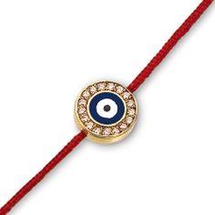 18K Gold Small, Evil Eye Red Cord Bracelet, Navy Enamel with Diamond Rim  0.12 cts | Fredric H. Rubel Jewelers