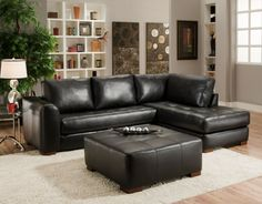 Small black leather sectional sofa with chaise for living room with hardwood floors