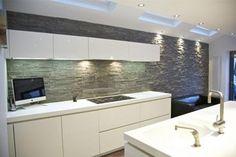 Kitchen Stone Cladding back splashes feature walls modular natural stone panels Grey Kitchen Cupboards, Kitchen Cupboard Doors, Kitchen Tiles, Kitchen Design, Tile Suppliers, Stone Panels, Tile Manufacturers, Grey Doors, Stone Cladding