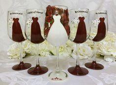5 Red Bridesmaid Dress Wine Glasses by thepaintedflower on Etsy, $95.00