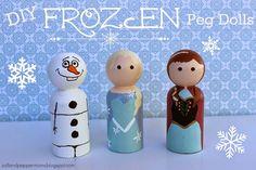 "Salt and Pepper Moms: DIY ""Frozen"" Peg Dolls"