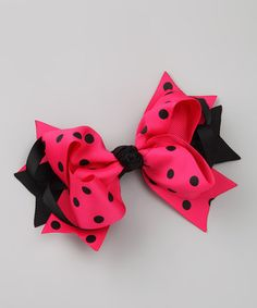 Another great find on #zulily! Hot Pink & Black Polka Dot Bow Tie Clip by Picki Nicki Hair Bowtique #zulilyfinds