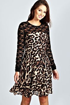 b0ec2f238b97 boohoo Aaliyah Lace Long Sleeve Animal Print Skater Dress - animal Estilo  Glamour