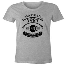 33rd Birthday Gift T-Shirt - Made In 1983 - Aged 33 Years To Perfection Short Sleeve Womens T Shirt