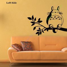 Free Shipping Japanese Cartoon Totoro Chinchilla wall stickers glass decals wall covering home decor 11 colors choose