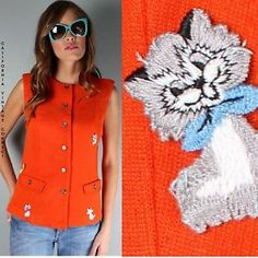 Super Cute 60s Orange Wool Knit Kitty Cat Mod