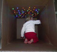 Cardboard box and christmas lights - cave of stars