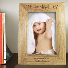 Personalise this Grandchild portrait wooden frame with a message over 2 lines of 30 characters per line. The word 'Granchild' is fixed. All personalisation is case sensitive and will appear as entered. Frames are made from chinese walnut catal. Personalized Gifts For Grandparents, Personalized Gift Cards, Personalized Photo Frames, Engraved Photo Frames, Photo Engraving, Little Rose, Amelie, Little Princess, Grandchildren