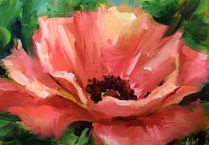 Pink Poppy Flower Painting by Texas Flower Artist Nancy Medina, painting by artist Nancy Medina Poppy Flower Painting, Simple Flower Painting, Flower Paintings, Acrylic Flowers, Acrylic Art, Floral Watercolor, Watercolor Paintings, Watercolours, Flower Artists
