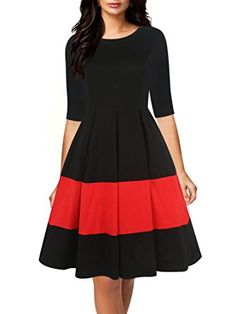 6741874f81 online shopping for oxiuly Women s Vintage Half Sleeve O-Neck Contrast  Casual Pockets Party Swing Dress from top store. See new offer for oxiuly  Women s ...