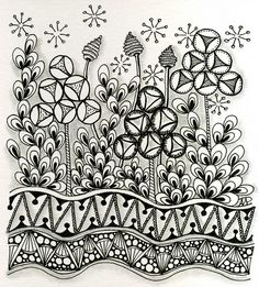 """Another pinner said.""""I just love this Zentangle inspired piece using my Keenees tangle. Tangle Doodle, Tangle Art, Zen Doodle, Doodle Art, Zentangle Drawings, Doodles Zentangles, Doodle Drawings, Doodle Patterns, Zentangle Patterns"""