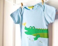 Baby Boy Onesie: Blue & Green Handmade Alligator Applique Onesie by ChirpAndBloom